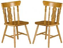 Pair of Fiddleback Pine Dining Chairs